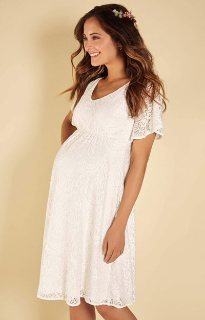 Edith Lace Maternity Kimono Dress in Ivory by Tiffany Rose