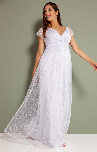 Elodie Maternity Wedding Gown Long Silver Snow