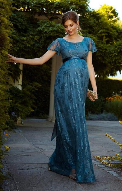 elsa maternity gown long lagoon blue maternity wedding