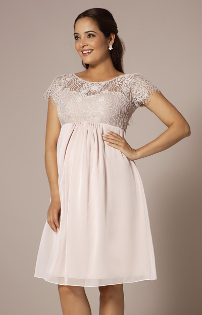 Elizabeth Maternity Dress Short Soft Mist Pink by Tiffany Rose