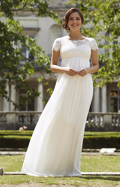 Elizabeth Maternity Wedding Gown Long Ivory by Tiffany Rose