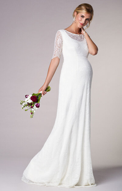 Evie Lace Maternity Wedding Gown Long Ivory White by Tiffany Rose