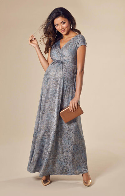 Francesca Maternity Maxi Dress Bronze Blue
