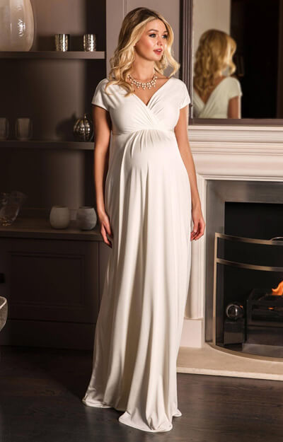 Francesca Maternity Maxi Wedding Dress Ivory by Tiffany Rose