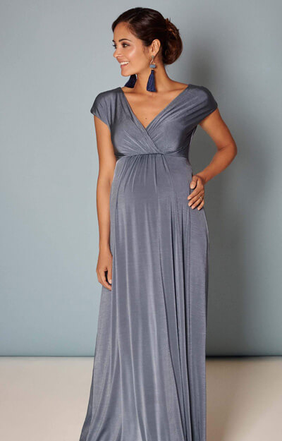 Francesca Maternity Maxi Dress in Steel Blue