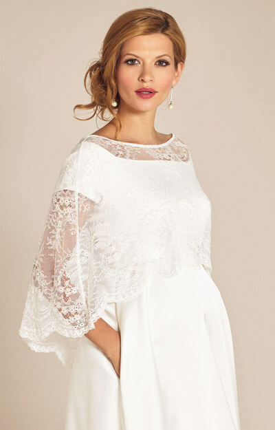 Georgia Lace Wedding Capelet Ivory