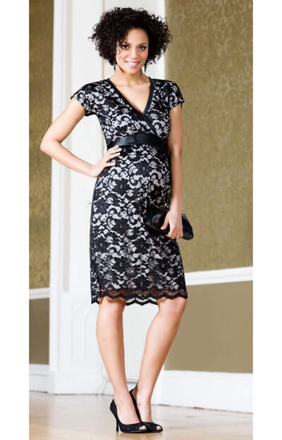 Grace Lace Maternity Dress (Black)