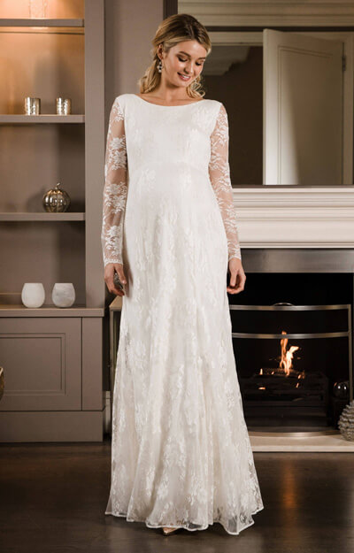 Helena Maternity Wedding Gown Long Ivory by Tiffany Rose