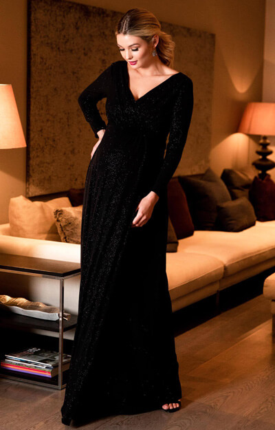 Isabella Long Maternity Gown with sleeves in Glitter Black by Tiffany Rose