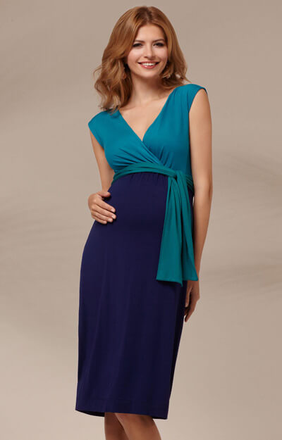 Jewel Block Maternity Dress Biscay Blue