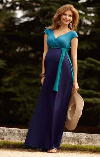 Jewel Colour-Block Umstandsmaxikleid in Biscay Blue by Tiffany Rose