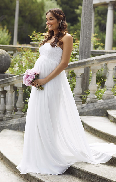 Julia Strapless Maternity Wedding Gown Long White by Tiffany Rose