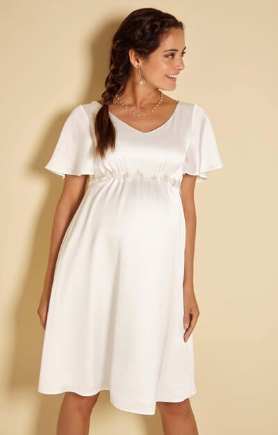 Keira Satin Crepe Maternity Wedding Dress in Ivory White by Tiffany Rose