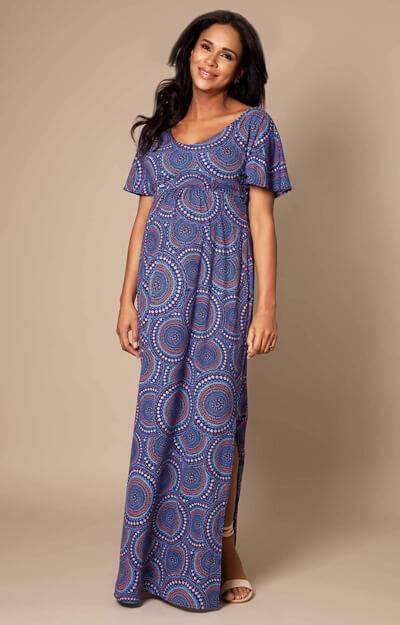 Kimono Maternity Maxi Dress Aztec Print by Tiffany Rose
