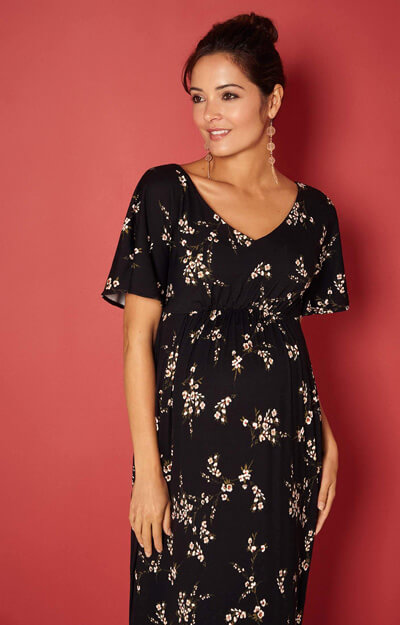Kimono Maternity Maxi Dress in black Night Blossom