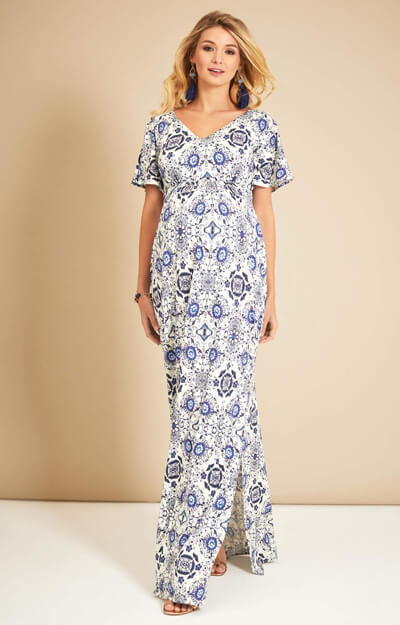 Kimono Maternity Maxi Dress Porcelain Blue by Tiffany Rose