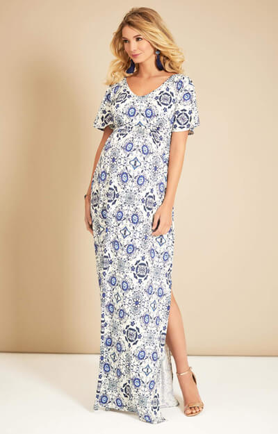 Kimono Maternity Maxi Dress Porcelain Blue
