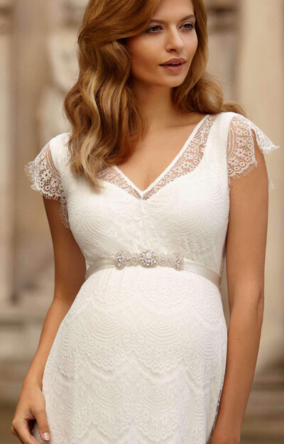 Kristin Maternity Wedding Gown Long Ivory White