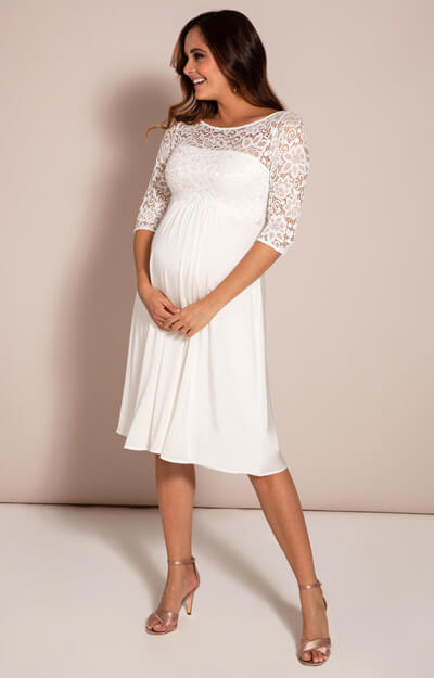 Lucia Maternity Wedding Dress Short Ivory White