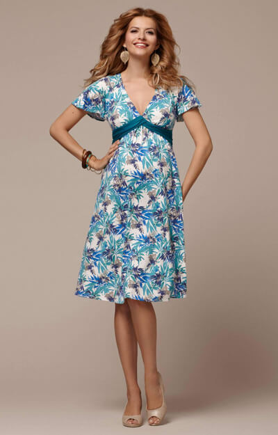 Lizzy Maternity Dress Short Blue Nile