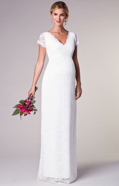 Laura Maternity Wedding Lace Gown Long Ivory