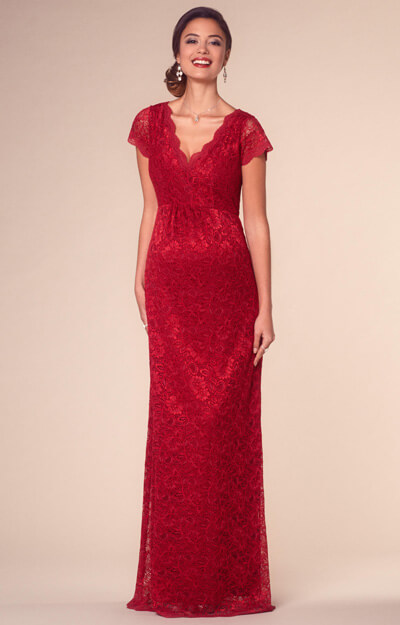 Laura Maternity Lace Gown Long Scarlet