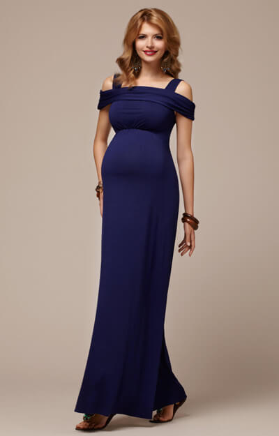 Lola Maternity Maxi Dress Mirage Blue