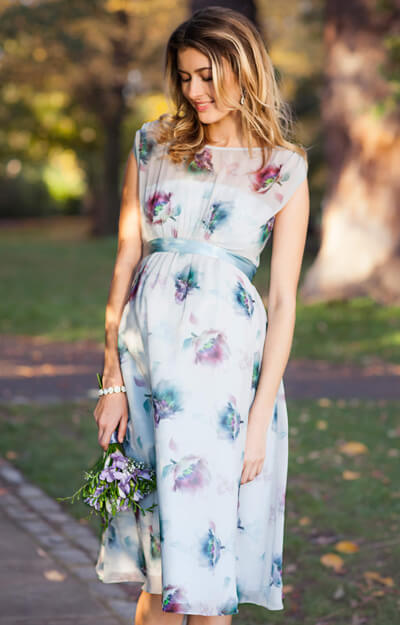 Maya Maternity Gown Short Dusky Floral