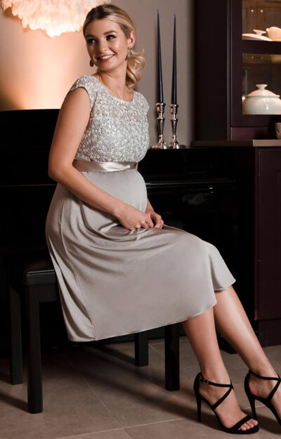 Mia Maternity Dress short Silver