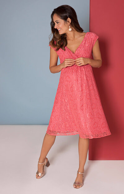 Nicola Lace Dress in Coral Blush