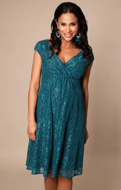 Nicola Maternity Lace Dress short Ocean Green by Tiffany Rose