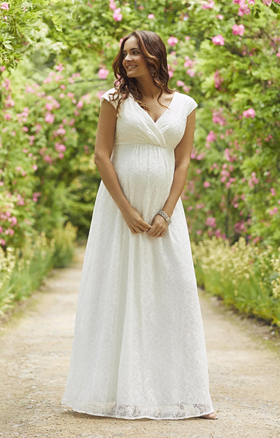 Nicola Lace Maternity Wedding Gown Long Ivory by Tiffany Rose