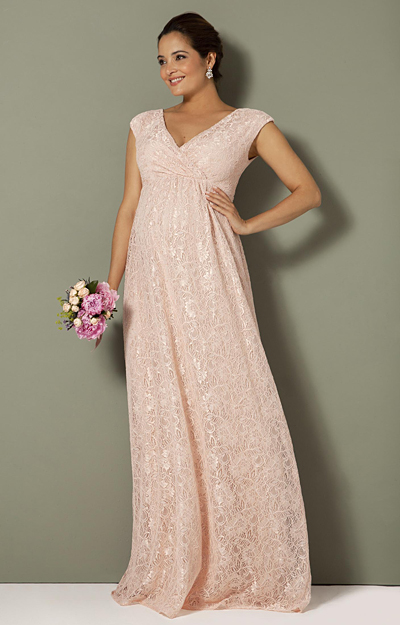 Nicola Maternity Lace Gown Pearl Pink by Tiffany Rose
