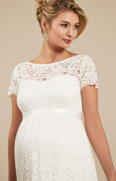 Penelope Lace Maternity Wedding Gown Ivory