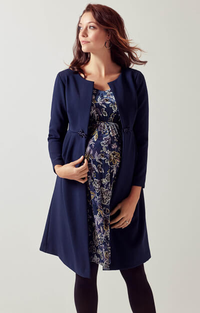 Roma Maternity Dress Coat Midnight Blue by Tiffany Rose