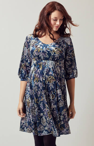 Roxie Velvet Maternity Dress Short Boho Blue by Tiffany Rose