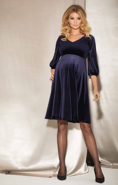 Roxie Umstandskleid aus Samtkleid in Blau by Tiffany Rose