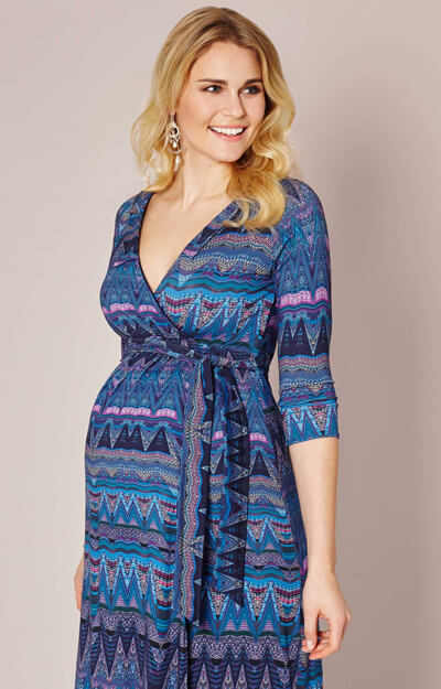 Saffron Maternity Dress Aztec Blue