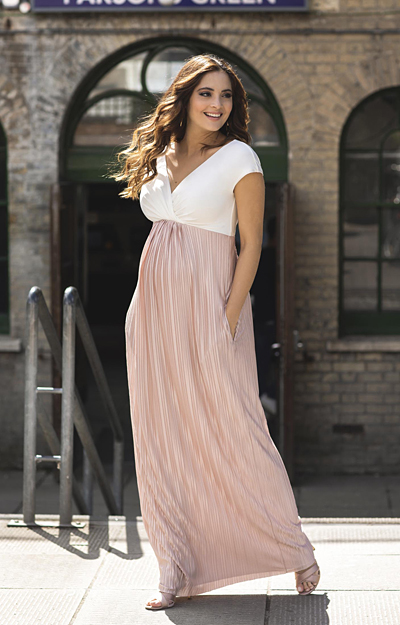 Serenity Maternity Maxi Dress Bellini Pink by Tiffany Rose