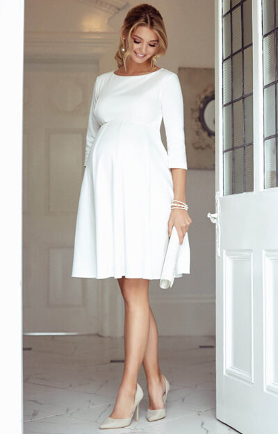 Sienna Maternity Dress Short Cream by Tiffany Rose