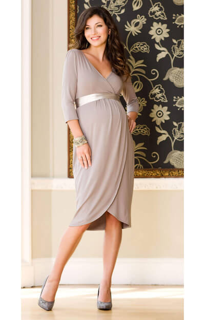 Tulip Maternity Dress (Pale Grey) by Tiffany Rose