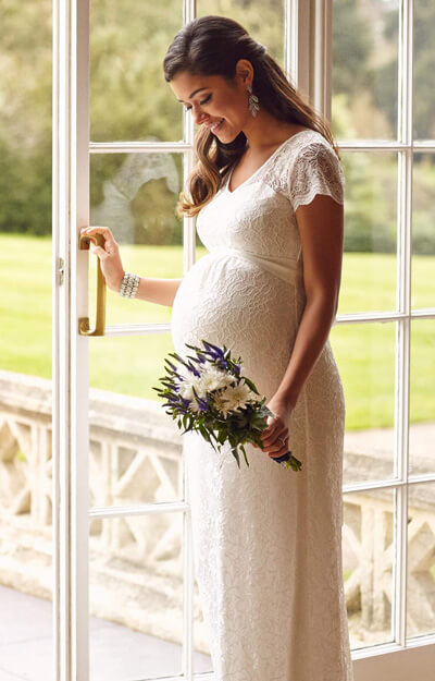 Vanessa Maternity Wedding Gown Long Ivory