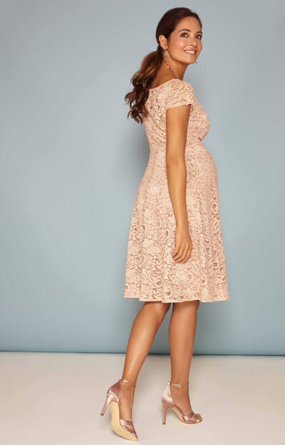Viola Maternity Lace Dress in Blush