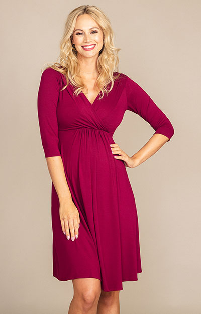 Willow Maternity Dress (Burgundy) by Tiffany Rose