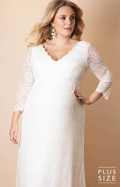 Chloe Lace Plus Size Maternity Wedding Gown Ivory