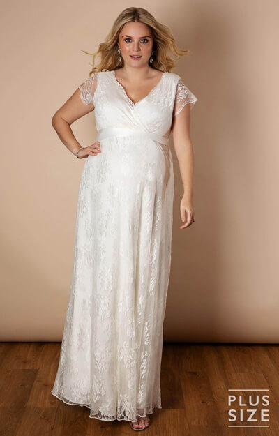 Eden Lace Plus Size Gown Long Ivory by Tiffany Rose