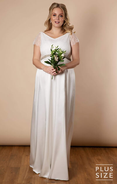 Eleanor Gown Plus Size Maternity Wedding Gown Ivory White by Tiffany Rose