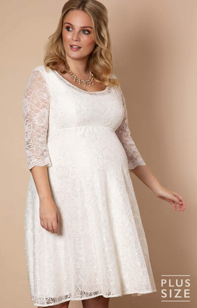 Freya Dress Short Plus Size Maternity Wedding Dress Ivory
