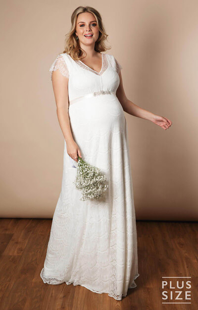 Kristin Plus Size Maternity Wedding Gown Long Ivory White by Tiffany Rose