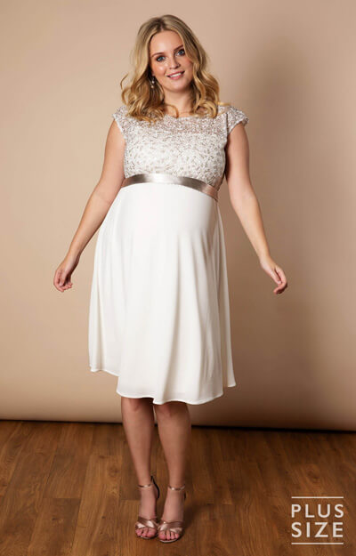 Mia Plus Size Maternity Dress Ivory by Tiffany Rose